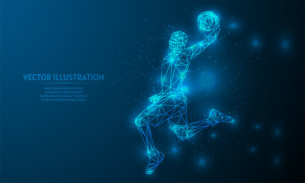 Glowing basketball on blue abstract background. low poly basketball backgraound. lines and triangles on blue background.