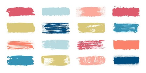 Brush paint swatch. Makeup strokes with fashion pastel colors, banners with patch and smudge effect. Vector set illustration of dab grunge labels for text on white background