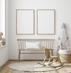 Mock up frame in children room with natural wooden furniture, Farmhouse style interior background, 3D render