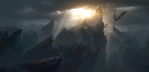 The challenger stands in front of the spooky castle, digital painting. Wall mural