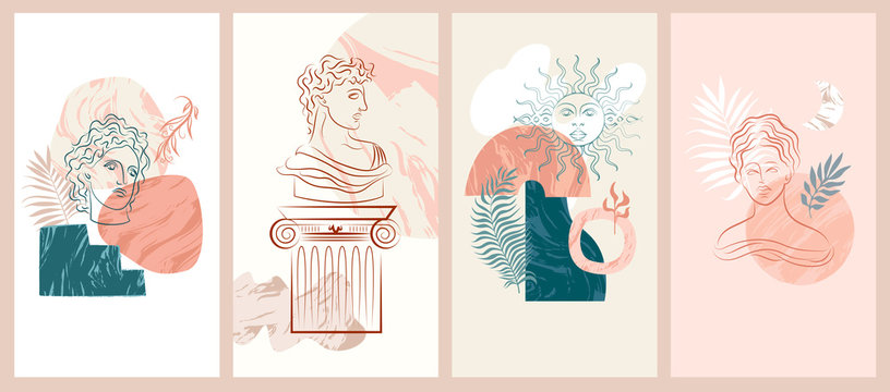 Set of abstract vertical background with antique elements, sculpture, columns, abstract marble shapes. Background for social media minimalistic style. Vector illustration