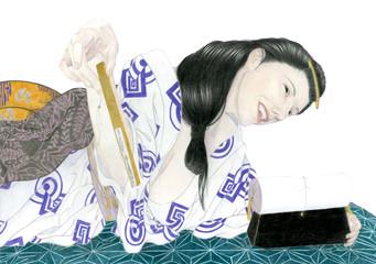 布団の上に寝そべる浴衣姿の女性
