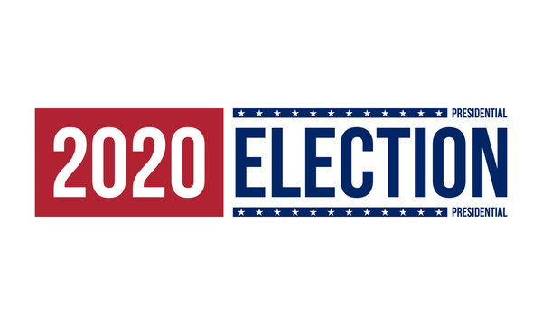 2020 presidential election logo in red and blue colors, vector illustration