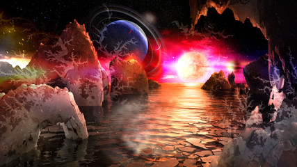 Alien planet landscape with bizarre mountains and many moons and planets in the sky. Elements of this image furnished by NASA.