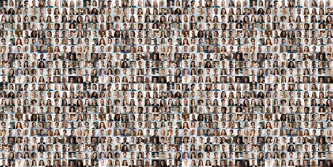 Hundreds of multiracial people crowd portraits headshots collection, collage mosaic. Many lot of...