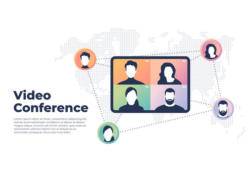 World wide video conference concept. Videoconferencing and online meeting banner.