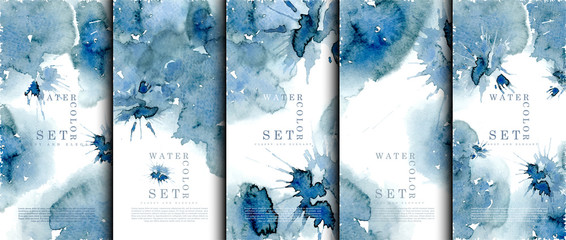 Watercolor Set abstract pattern texture navy blue background template vector Fotobehang