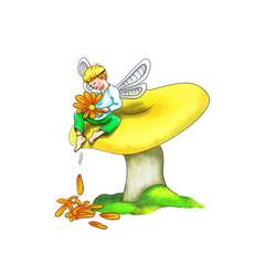 Elfe sitzt barfuß verträumt auf Pilz, flattert mit Flügeln, hält Blume, zupft verliebt Blütenblätter, Sie liebt mich, sie liebt mich nicht, Fabelwesen, Natur, Naturwesen, niedlich, süß, Pilz und Moos