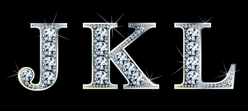 Diamond alphabet letters. Stunning beautiful JKL jewelry set in gems and silver. Vector eps10 illustration.
