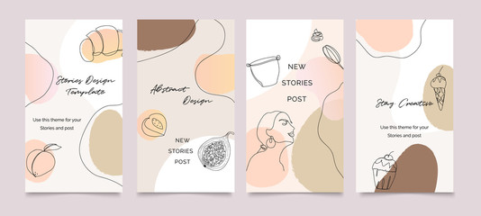 Fotobehang - Instagram post template. Design backgrounds for social media stories, Photo frame template and sale  banner. Memphis design cover. Abstract shape with  earth tone color. Vector  illustration