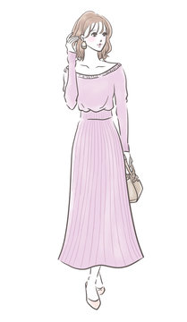 ファッション 女性 全身(フェミニン ニットワンピース)