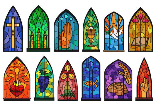 Church windows cartoon set icon. Isolated cartoon set icon cathedral mosaic.Vector illustration church windows on white background.