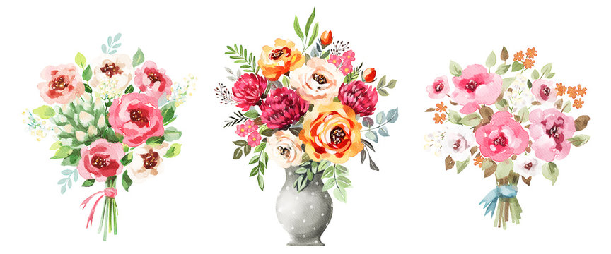 Watercolor bouquets set. Flowers, leaves, vase. Isolated