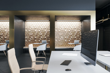 Luxury coworking office interior  furniture and equipment.
