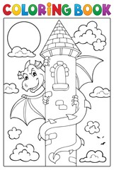 Poster Enfants Coloring book dragon on tower image 1