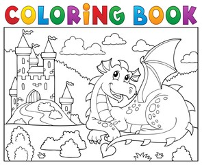 Photo sur Aluminium Enfants Coloring book lying dragon theme 2