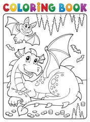 Photo sur Aluminium Enfants Coloring book lying dragon theme 3