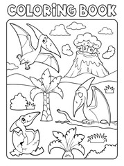 Photo sur Aluminium Enfants Coloring book pterodactyls theme image 1