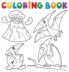 Photo sur Aluminium Enfants Coloring book pterodactyls theme set 1