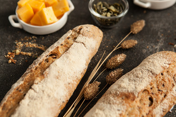 french wheat baguette, wheat crispy loaf