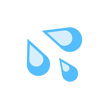 Sweat droplets emoji isolated on white background. Water drop emoticon symbol modern, simple, vector, icon for website design, mobile app, ui. Vector Illustration