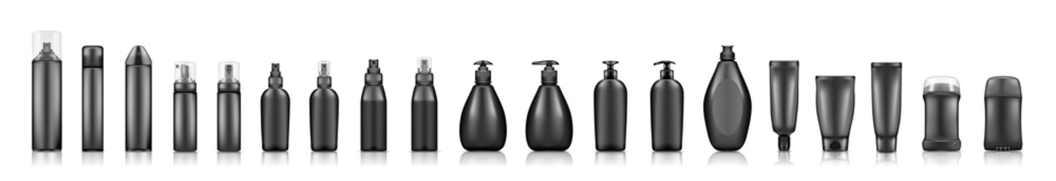 Black cosmetic bottles mockups on white background: soap, shampoo, lotion, deodorant, hairspray. Plastic package design. Blank cosmetic, hygiene and skin care template. Set of 3d vector illustrations
