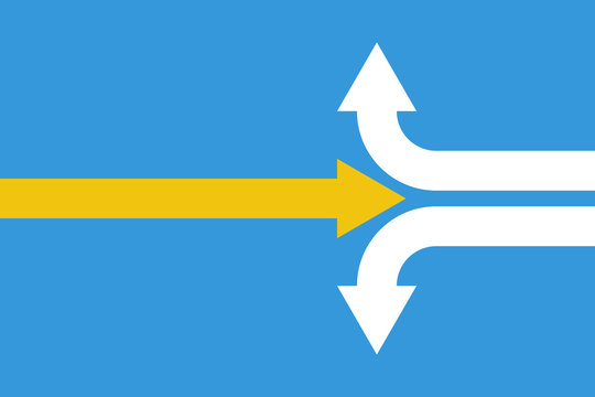 one yellow arrow split counter arrows to different sides, big leader vector concept
