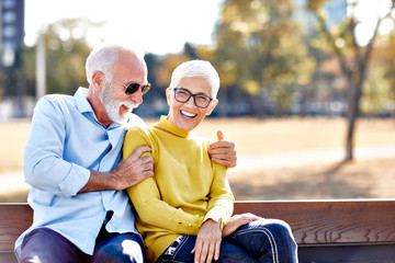 senior couple happy elderly love together smiling cheerful gray hair active lifestyle mature