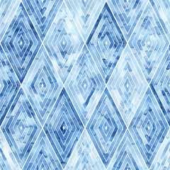 Geometric seamless watercolor pattern. Blue rhombuses on a white background. Artistic print for textiles. Handwork. Ornament drawn by brush on paper.
