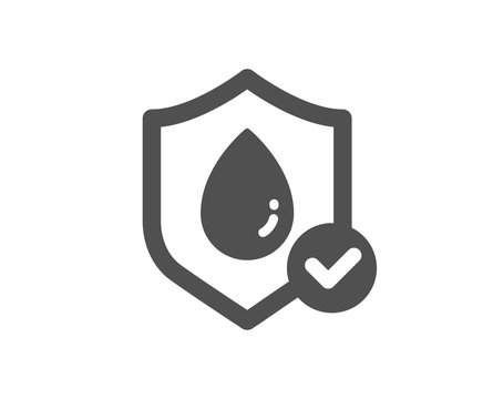 Waterproof icon. Water resistant sign. Liquid drop protection symbol. Classic flat style. Quality design element. Simple waterproof icon. Vector