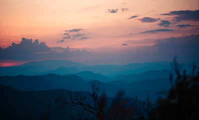 Poster Turquoise Sunset-Mountain in the evening Mountains and evening nature