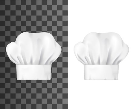 Chef hat, white toque front view isolated vector mockup. Chief cap working uniform of restaurant staff, cook clothing. Professional garment for head, pleated toque mockup design element