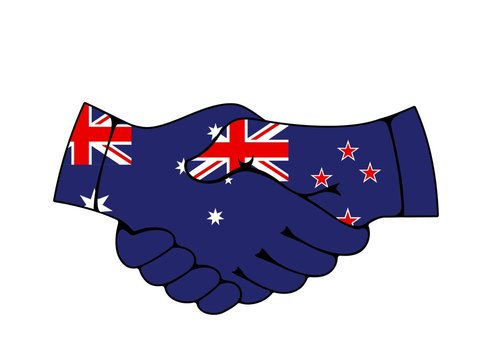 Handshake of Australia and New Zealand country flags, vector partnership and Trans-Tasman relationship. National banners of commonwealth countries, trading partners agreements and business cooperation