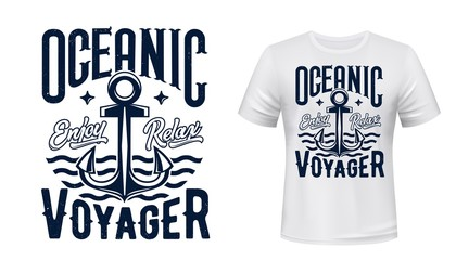 Fotorolgordijn Graffiti collage Sail ship anchor, t-shirt print. Sea cruise vector garment template with blue grunge typography on white apparel mockup. Sea team club t-shirt vector mockup with ocean trip emblem of waves and anchor
