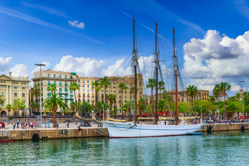 Embankment in the port of Barcelona, Catalonia, Spain. Architecture and landmark of Barcelona.