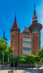 Street with beautiful building in Barcelona, Catalonia, Spain. Architecture and landmark of Barcelona.
