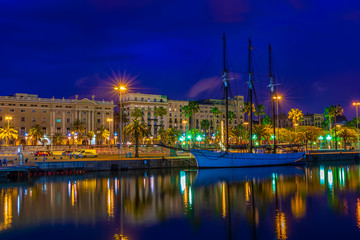 Embankment in the port of Barcelona, Catalonia, Spain. Architecture and landmark of Barcelona. Night cityscape of Barcelona