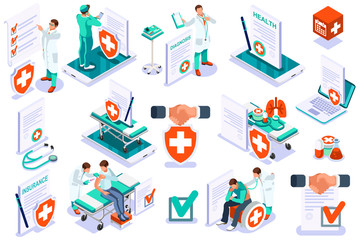 Medicine insurance security care for life. Hospital diagnosis design, health care document filling concept. Document health diagnoses medical insurance. Text and cartoon character vector illustration Wall mural