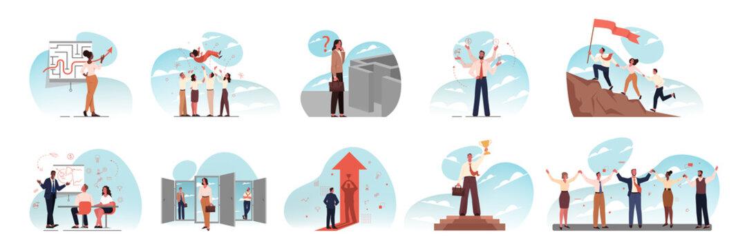 Leadership, team, training, multitasking, success, goal, meeting business set. Team of businesspeople, business men women coworkers collaborating together. Office training meeting, multitasking goals.