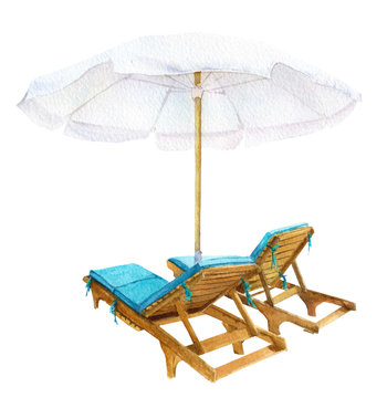 A picture of the deck chairs and a beach umbrella hand drawn in watercolor isolated on a white background. Watercolor illustration.