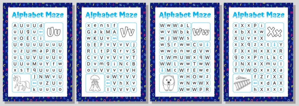 Alphabet Maze Set. Letters U, V, W, X. Educational Puzzle Worksheet.  Vector illustration.