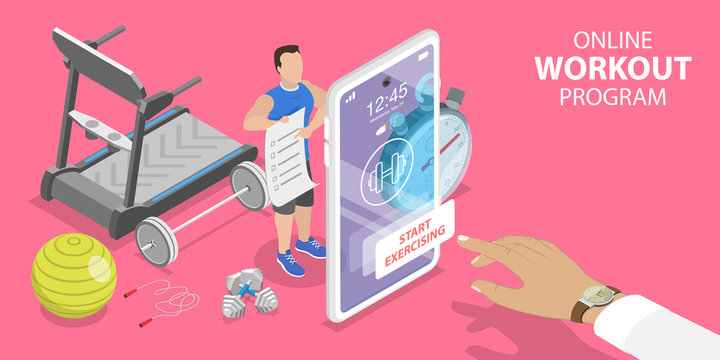 3D Isometric Flat Vector Concept of Online Workout Program, Personal Fitness Coach, Training with Virtual Instructor, Mobile App for Exercising at Home During Quarantine.