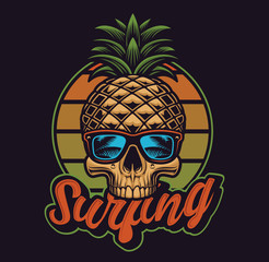 Vector illustration with pinapple skull  in vintage style.