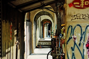 Interior Of Old Building With Graffiti