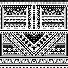 Polynesian tattoo seamless vector pattern, Hawaiian tribal design inspired by art traditional geometric art from islands on Pacific Ocean