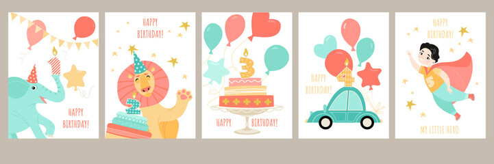 Fototapeten Cartoon cars A set of birthday cards for a boy's birthday with a cute cartoon superhero, little animals, a car and cakes with candles