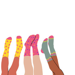 Set of three pairs of female legs in colored socks on a white background. High socks. Hand drawn vector colored trendy illustration. Flat design