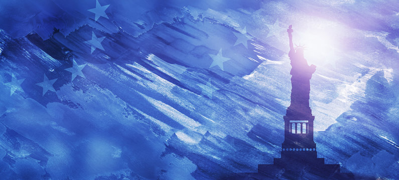 American National Holiday. US Flags with American stars, stripes and national colors. Statue of Liberty. President's Day. 4th July. Veterans Day. Memorial Day. Watercolors.