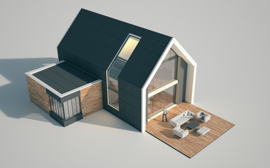 Modern pitched roof house mock up