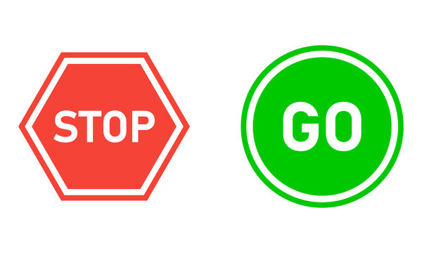 Stop and go vector sign, safety illustation EPS10.